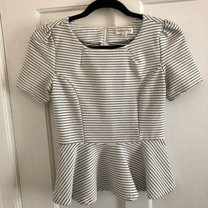 Black and White Peplum short sleeve shirt